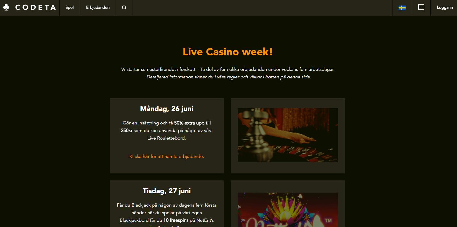 Codeta live casino vecka