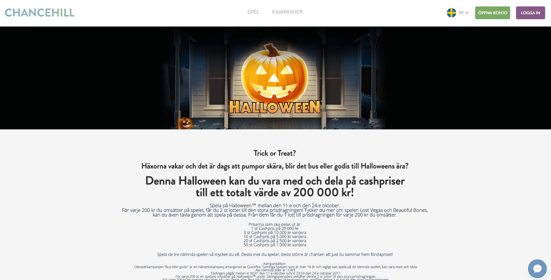 Halloween kampanj Chancehill