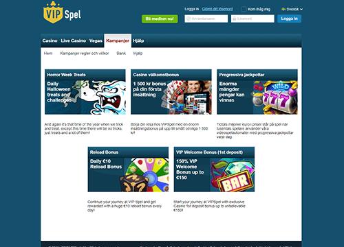 VIP spel casino bonus