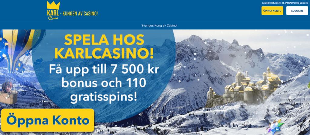 KarlCasino 7500 kronor och 110 gratisspins