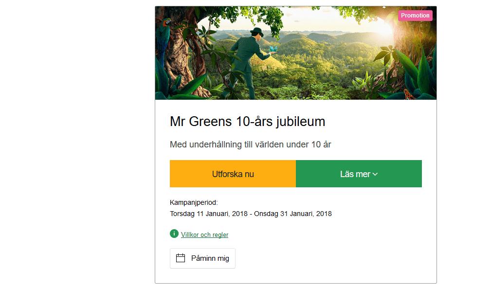 MrGreen 10 år och convertible och 100 000 kronor
