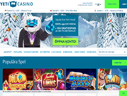 Yeti Casino skärmdump