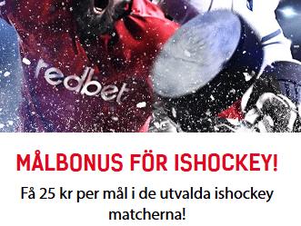 redbet 25 kr per mål på utvalda ishockeymatcher