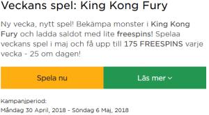 MrGreen Veckans Spel King Kong Fury 175 freespins