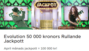 MrGreen Evolution 100 000 kr april månad jackpott