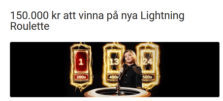 Unibet 150 000 kr att vinna på nya Lightning Roulette