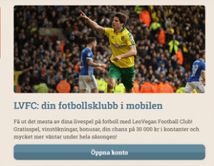 LeoVegas Football Club LVFC Bonusstege 30 000 kr