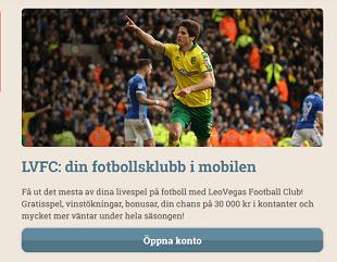 LeoVegas Football Club LVFC Bonusstege 30 000 kr