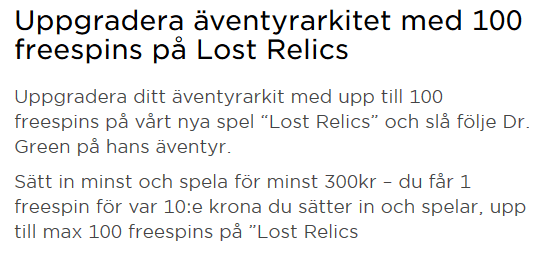 MrGreen 100 freespins på casinospel Lost Relics