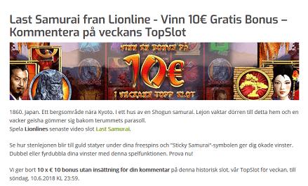 Lapalingo Vinn 10 € Gratis Bonus KOmmentera Last Samuari från Lionline Veckans TopSlot