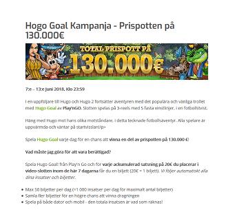 Nätcasino Lapalingo Hogo Goal Kampanja - Prispotten på 130 000 €