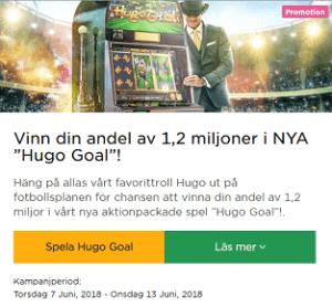 """MrGreen nätcasino Vinn din andel av 1,2 miljoner i NYA """"Hugo Goal"""" med första pris på 250 000 kr"""