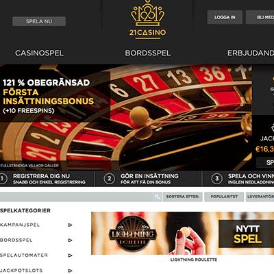 21 Casino bonus