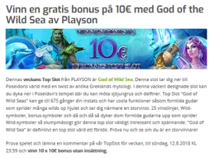 Lapalingo Nätcasino Vinn en gratis bonus på 10€ med God of the Wild Sea av Playson