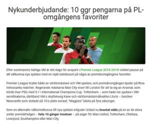 Nätcasino Unibet Nykunderbjudande: 10 ggr pengarna på PL-omgångens favoriter