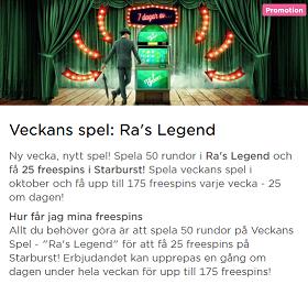 Nätcasino MrGreen - Veckans Spel: Ra's Legend - få upp till 175 freespins!