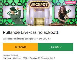 Nätcasino MrGreen - Rullande Live-casinojackpott 50 000 kr!