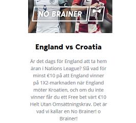 Nätcasino Betser - England vs Croatia - 10 € Free bet!