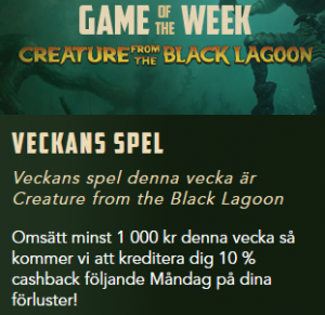 Nätcasino Codeta - 10% cashback på Veckans spel: Creature from the Black Lagoon!