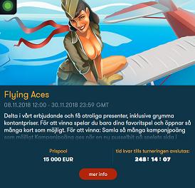 Nätcasino Frank Casino - Flying Aces - tävla om hela 15 000 € i prispotten!