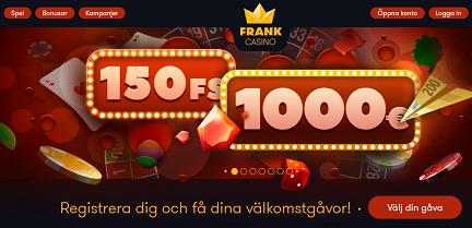 Klicka här och registrera dig på Frank Casino nu!