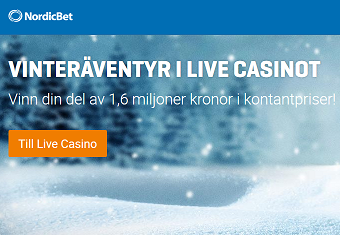 Nätcasino NordicBet - VINTERÄVENTYR I LIVE CASINOT - Vinn din del av 1,6 miljoner kronor i kontantpriser!