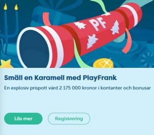 Nätcasino PlayFrank - Smäll en Karamell med PlayFrank! Freespins, Super Spins och insättningsbonusar!