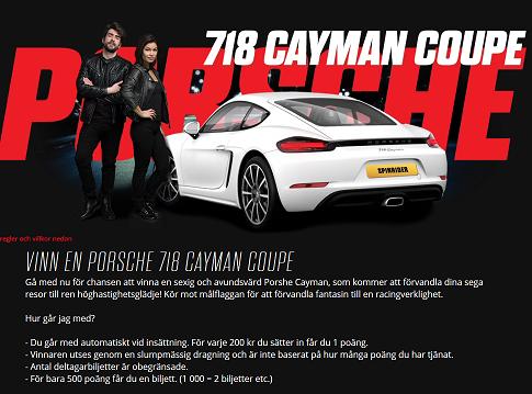 Vinn en Porsche 718 Cayman Coupe hos Spinit!