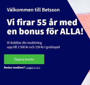 Hämta 2500 kr bonuspengar och 150 kr gratisspel för att fira Betsson 55 år!