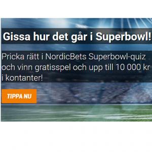 Gissa på Superbowl och vinn gratisspel och upp till 10 000 kr kontant via NordicBet!