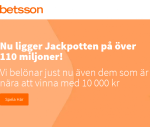 Vinn 110 miljoner kronor eller 10 000 kr som tröstpris på nätcasino Betsson!