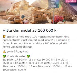 Tävla om 100 000 kr på Mr Green i veckan!