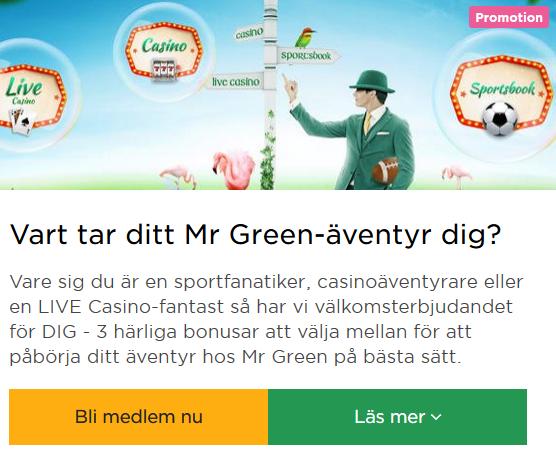 Bli medlem nu på Mr Green så kan du tävla idag om din andel av 100 000 kr!