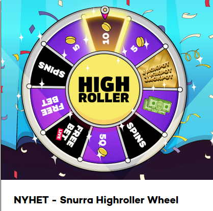 Vinn freespins, free bets & cash på Highroller Wheel!