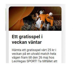 Hämta Veckans gratisspel på veckans match på LeoVegas nu!