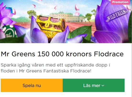 Delta i 150 000 kronors Flodrace på Mr Green!