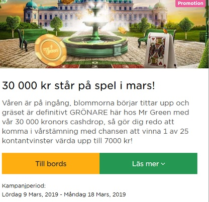 Tävla om 30 000 kr i potten på Mr Green!