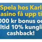 Hämta ny 1000 kr välkomstbonus på KarlCasino!