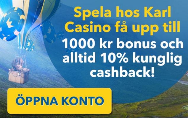 Klicka här och hämta dina 1000 kr bonuspengar hos KarlCasino!