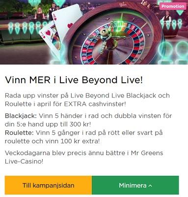 Vinn upp till 300 kr och 100 kr extra på Live Blackjack & Roulette hos Mr Green!
