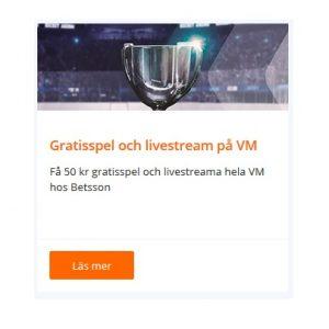 Hämta 50 kr gratisspel på hockey-VM hos Betsson!