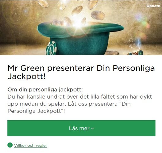 Mr Green presenterar Din Personliga Jackpott!