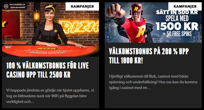 Nu kan du hämta din live casino bonus på Rizk!