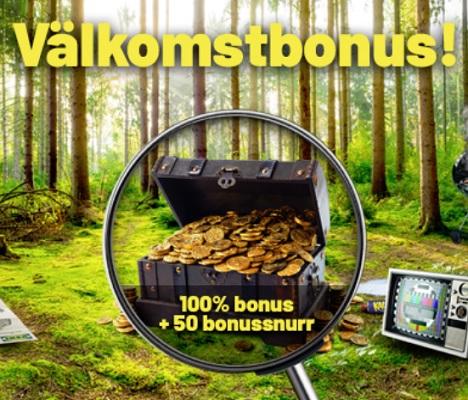 Hämta 100 % bonus + 50 free spins på SwedenCasino!