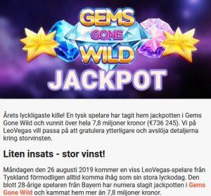 Vann 7,8 miljoner kr i Gems Gone Wild via LeoVegas!