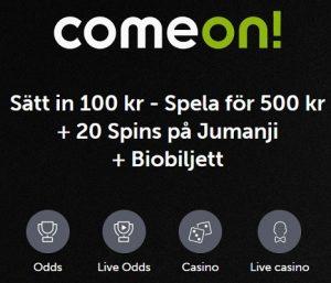 Hämta biobiljett och 20 free spins till Jumanji på Comeon!