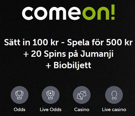 Klicka här och få din biobiljett & 20 free spins hos casino Comeon!