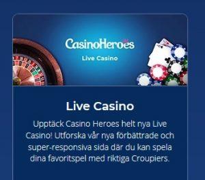 Nytt live casino lanserat hos Casino Heroes!
