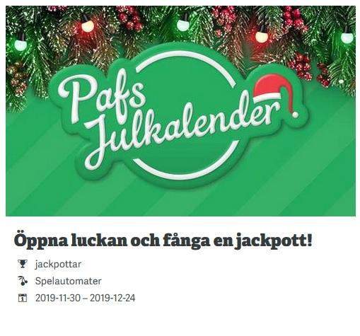 Vinn jackpottar på Paf Casino i deras julkalender!