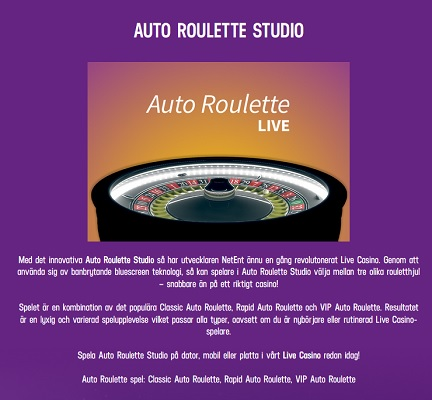 Nya Auto Roulette Live hos Lucky Casino!